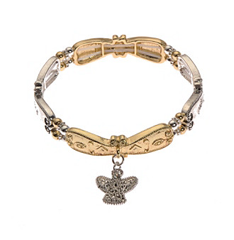L & J Accessories Inspirational Angel Charm Two Tone Stretch Bracelet