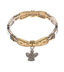 L&J Accessories Inspirational Angel Charm Two Tone Stretch Bracelet
