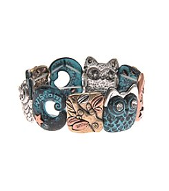 L&J Accessories Tri Tone Owl Inspirational Stretch Bracelet