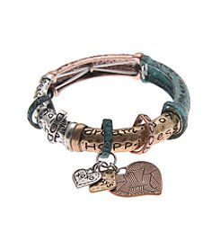L&J Accessories Heart Tri Tone Patina Stretch Bracelet
