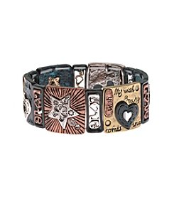 L&J Accessories Tri Tone Square Metal Inspirational Stretch Bracelet