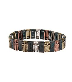 L&J Accessories Inspirational Tri Tone Patina Stretch Bracelet