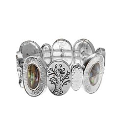 L&J Accessories Tree Of Life Silvertone Inspirational Stretch Bracelet
