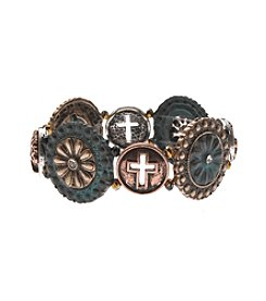L&J Accessories Tri Tone Cross Link Patina Blue Stretch Bracelet