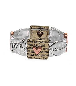 L&J Accessories Tri Tone Heart 1 Corinthians Stretch Bracelet