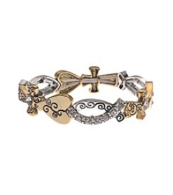 L&J Accessories Two Tone Cross Fish Links Inspirational Stretch Bracelet