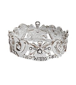 L&J Accessories Silvertone Angel Inspirational Stretch Bracelet