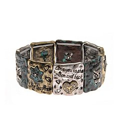 L&J Accessories Tri Tone Patina Owl Heart Star Inspirational Bracelet