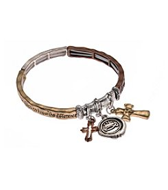 L&J Accessories Tri Tone Serentity Prayer Cross Stretch Bracelet