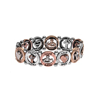 L & J Accessories Tri Tone Inspirational Open Link Stretch Bracelet