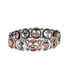 L&J Accessories Tri Tone Inspirational Open Link Stretch Bracelet