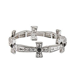 L&J Accessories Silvertone Cross Links Stretch Bracelet