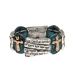 L&J Accessories Silvertone John 3:16 Stretch Cross Links Bracelet