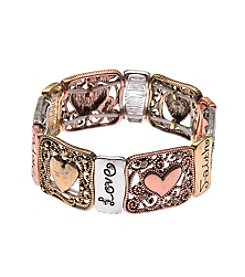 L&J Accessories Tri Tone Marcasite Heart Filigree Stretch Bracelet