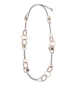 Erica Lyons® Tri Tone Welcome To The Jungle Animal Print Long Chain Necklace