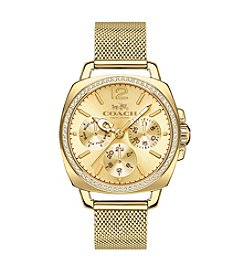 COACH WOMEN'S BOYFRIEND SMALL GOLDTONE MESH BRACELET WATCH