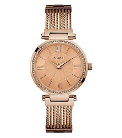 GUESS Women's Rose Goldtone Soho Modern Classic Watch