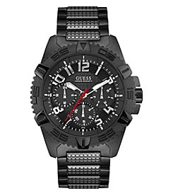 GUESS Men's Black And Silvertone Frontier Chronograph Watch
