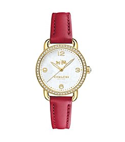 COACH WOMEN'S DELANCEY GOLDTONE CRYSTAL STRAP WATCH
