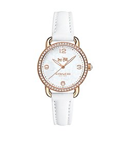 COACH WOMEN'S DELANCEY  ROSE GOLDTONE CRYSTAL STRAP WATCH