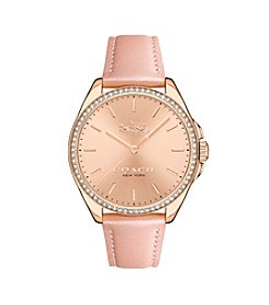 COACH WOMEN'S TRISTEN ROSE GOLDTONE BLUSH STRAP WATCH