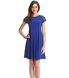 Julian Taylor Lace Sleeve Trapeze Dress