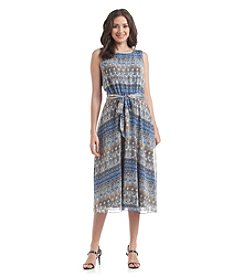 Prelude® Patterned Belted Midi Dress