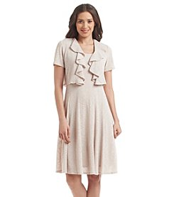 R&M Richards® Fit And Flare Ruffled Jacket Dress