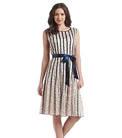 S.L. Fashions Belted Lace Dress