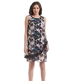 S.L. Fashions Chiffon Overlay Floral Dress