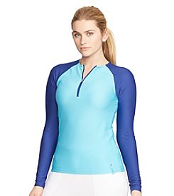 Lauren Active® Plus Size Honeycomb Half-Zip Top