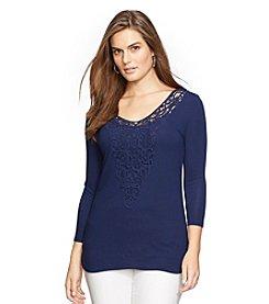 Lauren Ralph Lauren® Plus Size Crochet Jersey Shirt