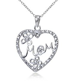 Designs by FMC Sterling Silver & Diamond Accent Mom Heart Pendant Necklace