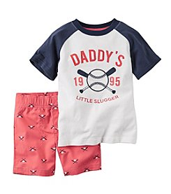 Carter's® Boys' 2T-4T 2-Piece Little Slugger Printed Tee And Shorts Set