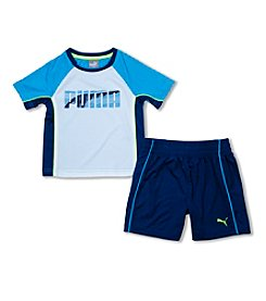 PUMA® Boys' 2T-7 2-Piece Short Sleeve Logo Tee And Shorts Set