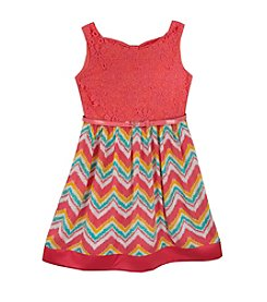 Rare Editions® Girls' 7-16 Chevron Printed Fit And Flare Dress