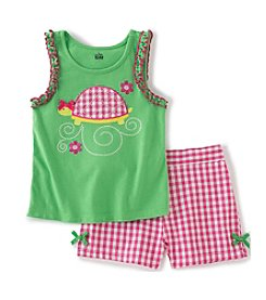 Kids Headquarters® Girls' 2T-6X Turtle Applique Tank And Shorts Set