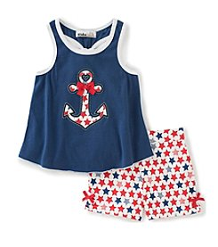 Kids Headquarters® Girls' 2T-6X Americana Anchor Applique Tank And Shorts Set