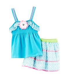 Nannette® Girls' 2T-6X Smock Tank And Printed Skirt