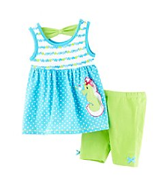 Nannette® Girls' 2T-6X Seahorse Applique Tunic And Leggings Set