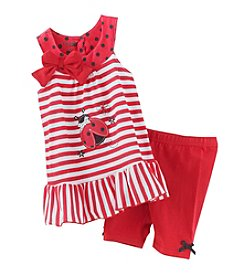 Nannette® Girls' 2T-6X Ladybug Applique Tunic And Leggings Set