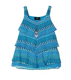 A. Byer Girls' 7-16 Abtract Printed Tiered Tank With Necklace
