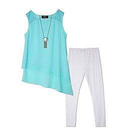 A. Byer Girls' 7-16 Asymmetrical Tank With Leggings Set