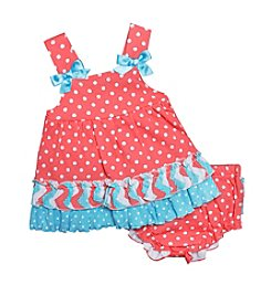 Baby Essentials® Baby Girls' Dot Printed Ruffle Diaper Cover Set