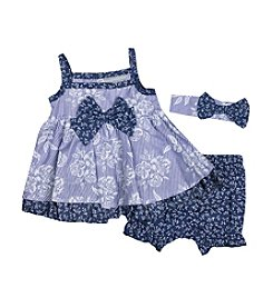 Wendy Bellissimo® Baby Girls' 3-Piece Printed Chambray Diaper Cover Set