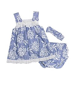 Wendy Bellissimo® Baby Girls' 3-Piece Chambray Printed Diaper Cover Set