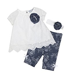 Wendy Bellissimo® Baby Girls' 3-Piece Eyelet Top and Jeggings Set