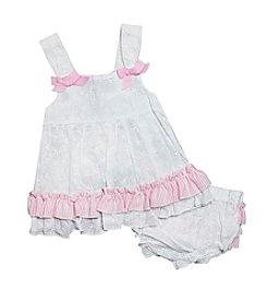 Baby Essentials® Baby Girls' Eyelet Seersucker Diaper Cover Set