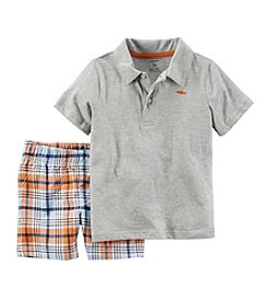 Carter's® Baby Boys Polo And Plaid Shorts Set