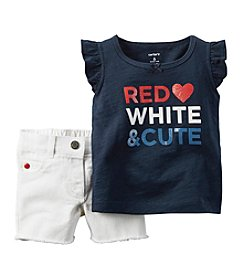 Carter's® Baby Girls' Red White & Cutie Tee And Shorts Set